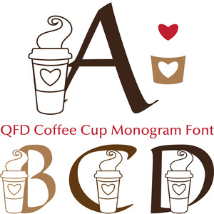 qfd coffee cup monogram font