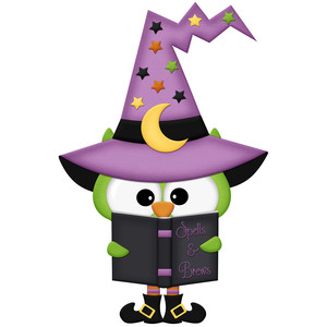 halloween owl witch with book of spells