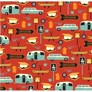 retro camping pattern red