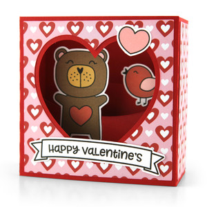 shadow box card scene valentine bear
