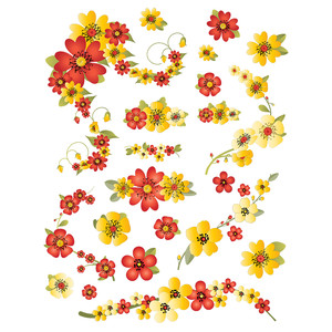 red and gold floral planner stickers