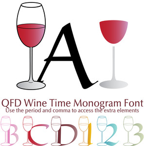 qfd wine time monogram summer party font