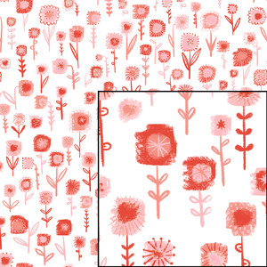 field of painted flowers seamless pattern
