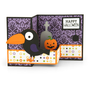 pop up box card halloween crow