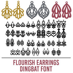 flourish earrings dingbat font