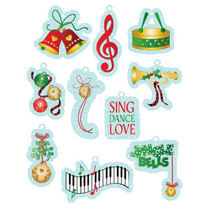 christmas music-themed tags
