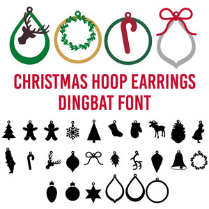 christmas hoop earrings dingbat font