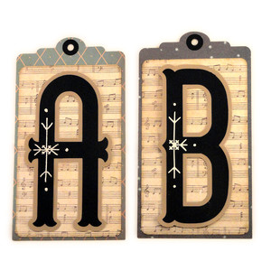 initial ab stitched pocket tag or card
