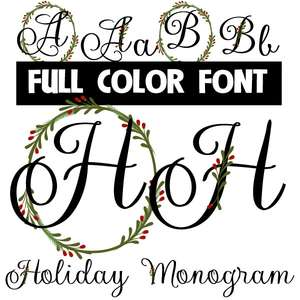 holiday monogram color font