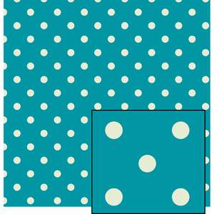 blue and cream larger polka dot pattern