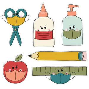 back to school supplies mask stickers