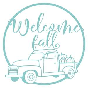 vintage truck welcome fall wreath one color