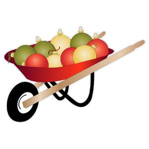 wheelbarrow with christmas ornaments