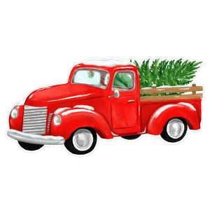 red pickup truck with a christmas tree