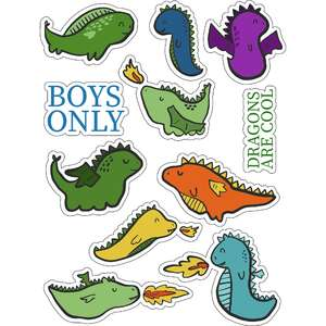 ml baby monster dragons stickers
