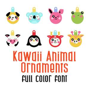kawaii animal ornaments full color font