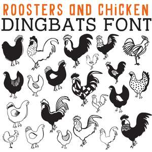 cg roosters and chickens dingbats