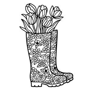gumboots with tulips mandala