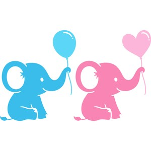baby elephant with balloon