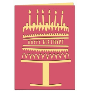 happy birthday cake papercut 7x5 card