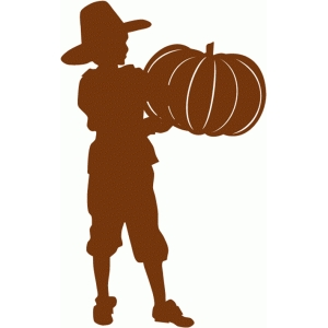 pilgrim boy with pumpkin