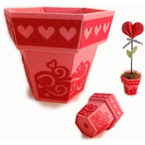 flower pot 3d with hearts panels