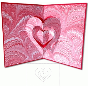 dimensional hearts pop-up card