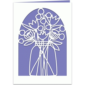 jar of flowers 5x7 papercut card with liner