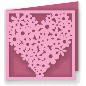 5x5 heart flower collage card