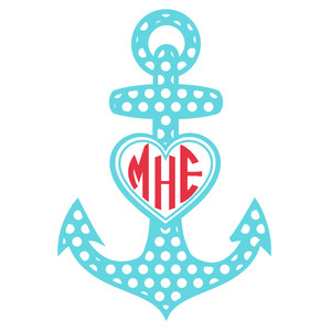polka dot anchor monogram frame