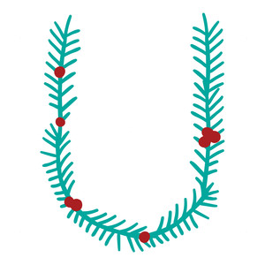 christmas holly alphabet u