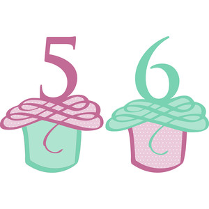 flourished cupcake numbers 5 and 6