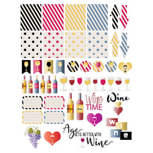 wine-themed planner stickers