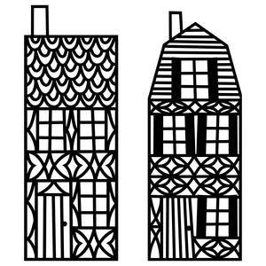 two papercut timbered houses