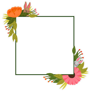 square floral frame with bunnies