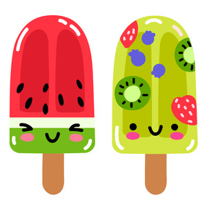 kawaii watermelon fruit ice pops