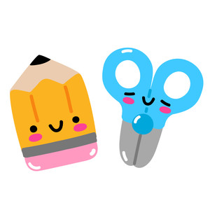 kawaii pencil and scissors