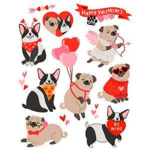 valentine's day dog stickers