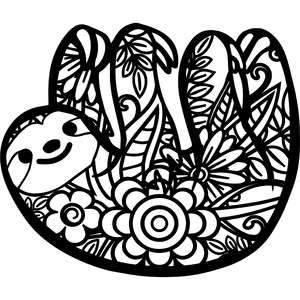 floral sloth zentangle