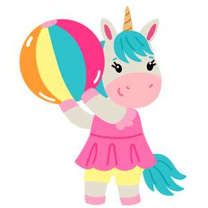 unicorn with beach ball