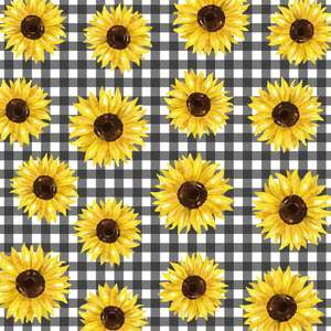 sunflowers on gingham printable background