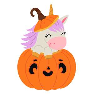 halloween unicorn in a pumpkin