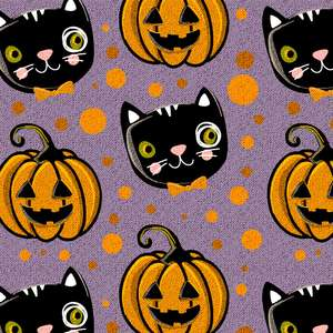 halloween cats and pumpkins pattern with fabric texture