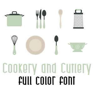 cookery and cutlery full color font