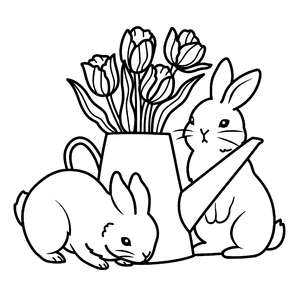 bunnies and watering can