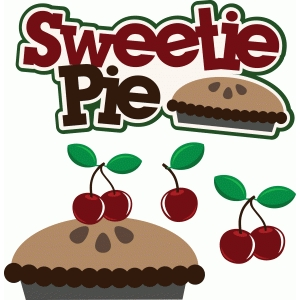 sweetie pie title/phrase with cherry pie and cherries set