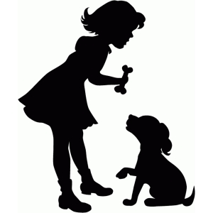 girl with dog silhouette