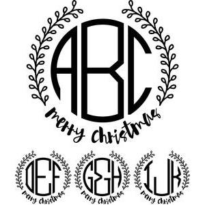 monogram basic - merry christmas wreath