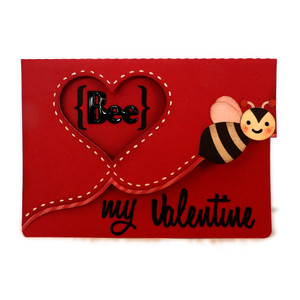 valentine bee stitched heart a7 card