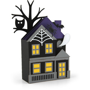 a2 shaped box card haunted house